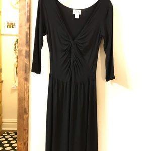 black twist front jersey dress